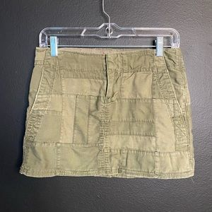 American Eagle Olive Green Patched Mini Skirt